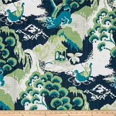 Madcap Cottage by Robert Allen Road to Canton Marrakech Green from @fabricdotcom  Designed by Madcap Cottage for Robert Allen and screen printed on cotton slub duck; this versatile, medium/heavyweight fabric is perfect for window accents (draperies, valances, curtains and swags), accent pillows, bed skirts, duvet covers, upholstery and other home decor accents. Create handbags, tote bags, aprons and more. This fabric has 100,000 double rubs. Colors include white, light grey, grey and shades…