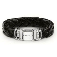 THOMAS SABO leather bracelet with folding clasp made from 925 Sterling Silver and black rhodium plated leather. The plaited leather bracelet with folding clasp made from 925 Sterling Silver is discrete and absolutely essential for sporty looks (Width: 1.4 cm).