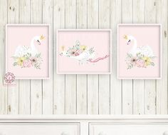 3 Boho Swan Baby Girl Nursery Wall Art Print Ethereal Pink Gold Crown Whimsical Bohemian Floral Minimalist Printable Prints Decor Baby Nursery Decor, Nursery Wall Art, Girl Nursery, Ballerina Nursery, Pink Forest, Floral Printables, Gold Crown, Baby Design, Pink And Gold