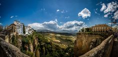 A panorama taken in Ronda, Spain Amazing Places On Earth, Wonderful Places, Beautiful Places, Ronda Spain, Picture Places, Living On The Edge, Mysterious Places, Spain Travel, Beautiful World