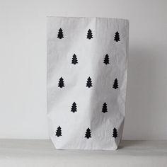 christmas tree *Home decor,*Scandinavian kraft paper bag* storage toys* sack* Toy Basket*kids room* paperbag * Black And White Decor*