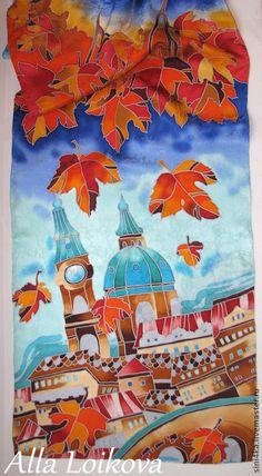 """Шарф """"Золотая осень в Праге"""" - рисунок,батик шарф,Батик,роспись по шелку"""