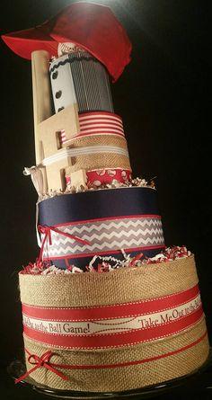 4 Tier Major League DIAPER CAKE w/ official baseball mini