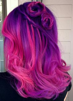 Purple pink dyed hair color