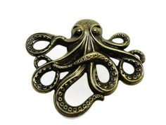 Octopus Stamping 1 One Antique Gold or Ox Brass by DrBrassyVintage, $4.99