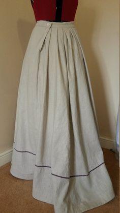 Edwardian Linen Walking Skirt, Gored Skirt by BlueLadyCouture on Etsy Godet Skirt Summer Edwardian Costumes, Victorian Costume, Summer Skirts, Spring Dresses, Maxi Dresses, Edwardian Fashion, Vintage Fashion, Vintage Beauty, Hipster Fashion