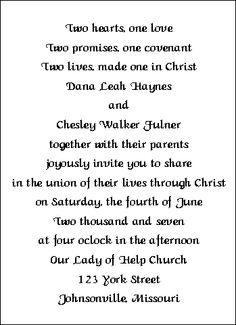 Christian Wedding Invitation Wordings Wedding Pinterest