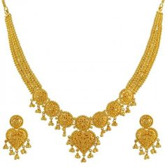 Gold Necklace and Earrings Set filigree and gold balls hanging around it. Indian Gold Necklace Designs, Gold Jewellery Design, Gold Jewelry, Mens Jewellery, Bridal Necklace, Wedding Jewelry, Necklace Set, Jewels, Durga