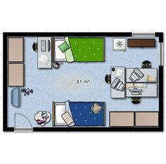 dorm room layout - Google Search