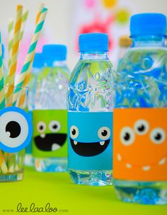 Monster Party Water Bottle, I love how a simple label can dress up a water bottle into a fun party favor for kids.