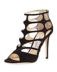 JIMMY CHOO Ren Suede Caged 100Mm Sandal. #jimmychoo #shoes #sandals