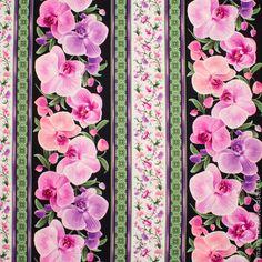 Купить или заказать Американский хлопок ОРХИДЕИ на черном - широкие полосы в интернет-магазине на Ярмарке Мастеров. Высококачественный американский хлопок. Крупный, натуралистичный цветочный принт. Хрупкость прекрасных орхидей на черном фоне. Широкие орнаментальные полосы, идущие вдоль кромки ткани. Для платьев винтажном стиле, для широких летних юбок и легких сарафанов. Ткань замечательно смотрится в одежде для девочек. Для кукол и игрушек, для изделий в…