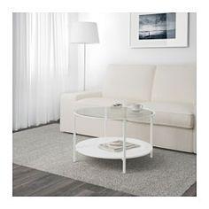 IKEA - VITTSJÖ, Sohvapöytä, valkoinen/lasi, , Säädettävien jalkojen ansiosta seisoo tukevasti epätasaisellakin alustalla.
