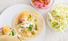 California Fish Tacos ; jalapeño ; red onion ; lime ; cabbage ; cilantro ; sour cream ; mayo ; seafood ; hispanic ; healthy