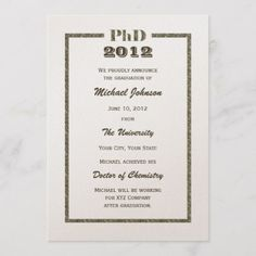 PhD Doctoral Graduation Announcement Metallic #graduation #graduationsavethedate #photosavethedate #highschool #modern #script #calligraphy #simple #casual