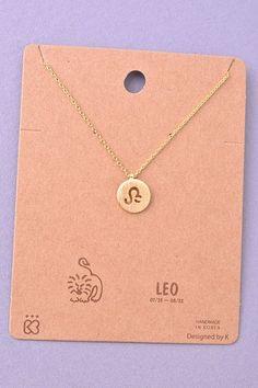 Dainty Circle Coin Leo Zodiac Symbol Necklace - Gold, Silver or Rose G – Hello Caroline