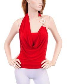 Red Draped Jewel Asymmetrical Halter Jersey  Top
