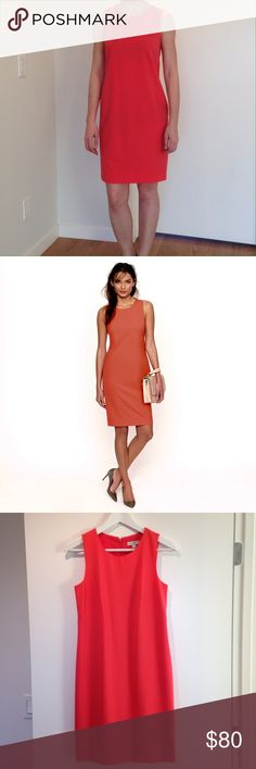 """J. Crew Stretch Wool Dress - coral sz 00 J. Crew classic shift dress. Statement color, rich coral pink. Hits at knee, back zip, bra-strap hiders. Size 00, but fits like a 0. Like-new condition, only worn once. 96% Wool with a hint of stretch for ultra-flattering fit. Fits me perfectly (cover photo). I'm 5'5"""", 115 lbs. 33c-25w-36h J. Crew Dresses"""