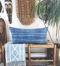 Faded African Indigo Lumbar Pillow, Mudcloth Pillow, Mudcloth Lumbar, Indigo Mudcloth, Vintage Textile, Boho Pillow, Boho Decor, Denim #ad #boho #homedecor
