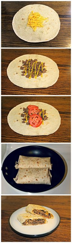 Grilled Cheeseburger Wraps - delic. Loved the seasoning
