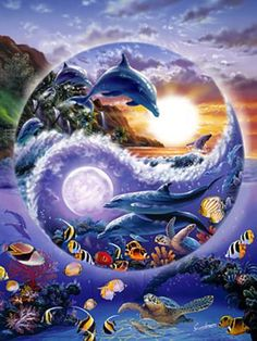 DIY Moon and dolphins home decor crafts diamond painting cross stitch diamond embroidery square wall painting diamond mosaic Dolphin Images, Dolphin Art, Water Animals, Animals And Pets, Yin Yang Art, Yin And Yang, Dolphins Tattoo, Underwater Art, Beautiful Fantasy Art