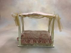 end table upside down for baby bed prop, love this!