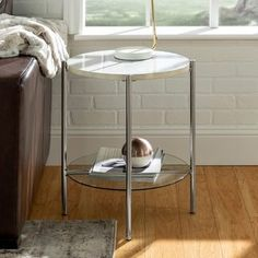 Silver Orchid Howell Round End Side Table, Modern with Glass Shelf, for Living Room - 20 x 20 x (Chrome / White Faux Marble), Grey / White Round Side Table, Round Coffee Table, Silver Side Table, Side Tables, Living Room Bench, Living Furniture, Living Rooms, Glass Display Shelves, Elle Decor Magazine