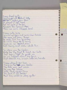 Manuscrit original de David Bowie de la chanson «Ziggy Stardust», 1972