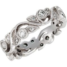 1/4CT Diamond Vintage Antique Diamond Ring Filigree Wedding Band Womens Anniversary Stackable Milgrain Style 14K White Gold Size 5-8