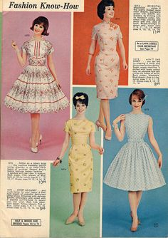 Sweetly feminine frock fashions from a 1962 Lana Lobell catalog. #vintage #fashion #dress #1960s