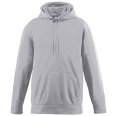 WICKING FLEECE HOODED SWEATSHIRT 100% polyester performance wicking fleece * Wicks moisture away from the body * Self-lined hood * Drawcord in hood on Adult sizes only * Set-in sleeves * Double-needle coverstitched cuffs and bottom band * Front pouch pocket * Self-fabric cuffs and bottom band