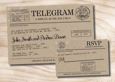 VINTAGE TELEGRAM Wedding Invitation and by PaperHeartCompany, $35.00