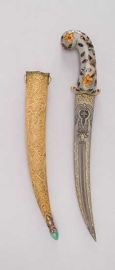 Khanjar Dagger with Sheath. Dated: 19th century. Culture: Turkish made in the Mughal style.