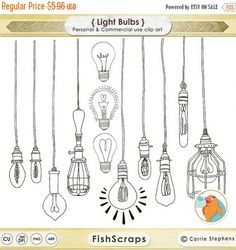 "From FishScraps on Etsy: ""LightBulb ClipArt, Line Art and Silhouettes. Vintage Edison Bulbs, String lights and so much more! For more details PLEASE see my shop policies section."""
