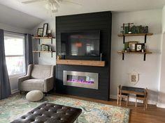 Living Room Decor Fireplace, Fireplace Tv Wall, Build A Fireplace, Fireplace Built Ins, Faux Fireplace, Fireplace Remodel, Fireplace Design, Modern Fireplace Mantles, Fireplace Feature Wall