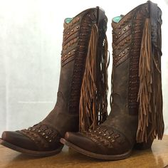 Corral Women's Brown Tan Woven And Fringed Western Boots C2986