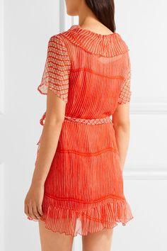 Cloe Cassandro - Kim Ruffled Printed Silk-chiffon Wrap Dress - Red