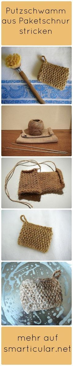 You don't always have to buy plastic sponges again. If you have some time to crochet or knit, make it yourself: from package cord! Informations About Küchenschwamm aus Paketschnur – ökologische Alternative zum Selbermachen Pin … Diy Vanity, Cardigans Crochet, Genius Ideas, Tutorial Diy, Kitchen Sponge, Diy Cleaning Products, Ecology, Fabric Crafts, Knitting Patterns