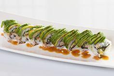 Caterpillar($9.50) - Unagi, cucumber topped w/avocado, eel sauce