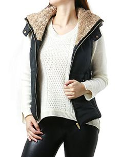 Womens Padded Faux Fur Light Weight Hoodie Sleeveless Coat Vest Outwear LARGE BLACKE2142VC >>> Details can be found by clicking on the image.