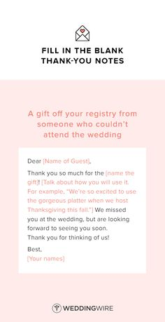 Wedding Thank You Note Template - thank you note template for a gift off your registry from someone who couldn't attend the wedding - see more thank you note templates on @weddingwire