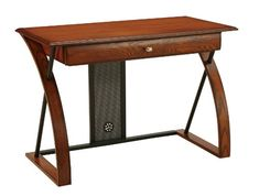 #Office Star OSP Designs Aurora Computer Desk, featuring Pull Out Keyboard Tray, Medium Oak Veneer with Black Powder Coated Accents, Solid Wood and Veneer.