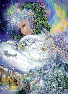 """Winter Solstice: """"Snow Queen,"""" by Josephine Wall. Josephine Wall, Snow Queen, Fantasy World, Fantasy Art, Art Expo, Earth Design, Fantasy Paintings, Wall Paintings, All Nature"""