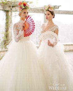 These Spanish-inspired bridal looks are made complete with flamenco-like hand fans and spectacular floral #MantillaHeadpieces- perfect for a bride who wants something original! | Photography By: the W Portraiture. | WedLuxe Magazine | #luxury #wedding #luxurywedding #weddinginspiration #flower #floral #flowercrown
