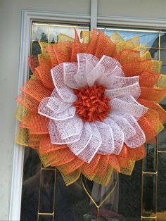 Fall Candy, Candy Corn, Burlap Ribbon, Burlap Wreath, Wire Wreath Forms, Purple Wreath, Wreath Crafts, Orange, Yellow
