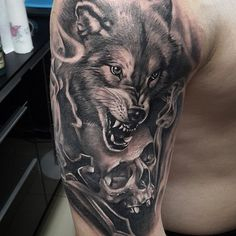 wolf black and gray