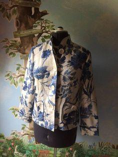 Coldwater Creek Floral Cream and Blue Blazer Suit Jacket SZ 14P #ColdwaterCreek #Blazer