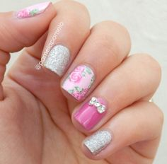 Pink floral and silver glitter bow nail design