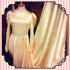 original 1940s vintage wedding dress in cream satin with long train £245 approx size 10