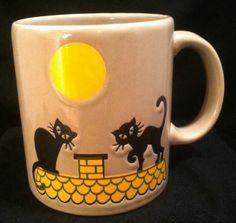 Waechtersbach Black Cats & Yellow Moon Coffee /Tea Mug Cup West Germany